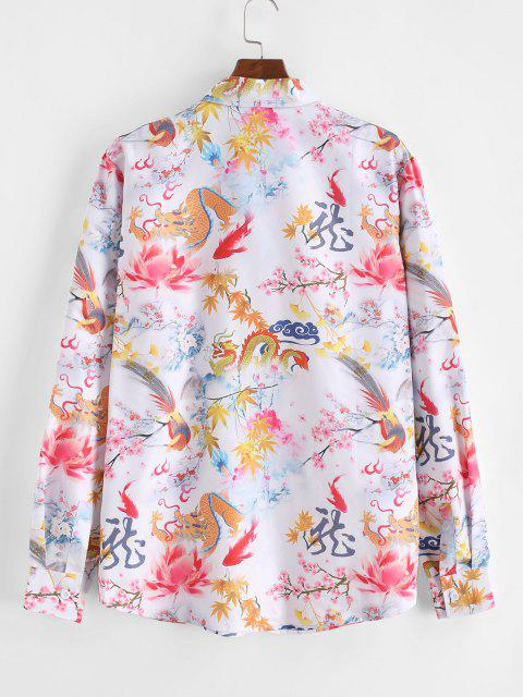shop ZAFUL Chinese Dragon Floral Painting Retro Long Sleeve Shirt - MULTI 2XL Mobile
