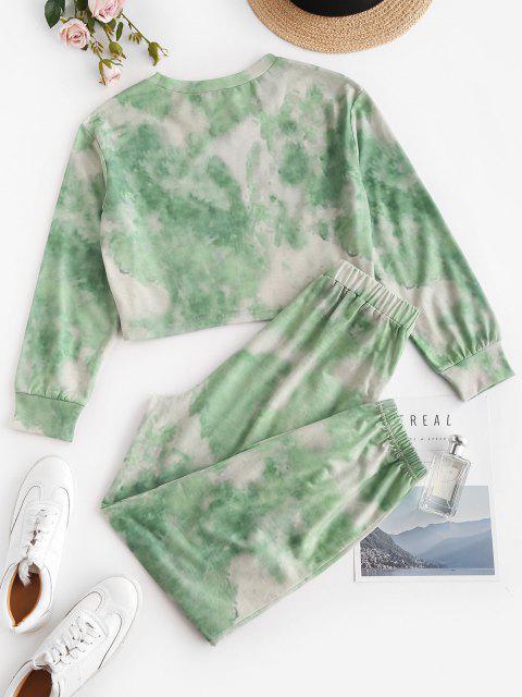 new ZAFUL Tie Dye Butterfly Two Piece Sweat Jogger Pants Set - LIGHT GREEN XL Mobile