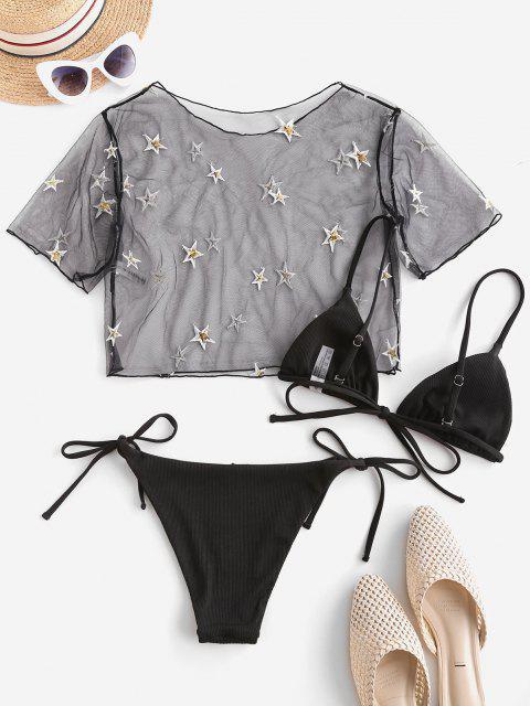 new ZAFUL Ribbed Sequined Star Lace Three Piece String Bikini Swimwear - BLACK L Mobile