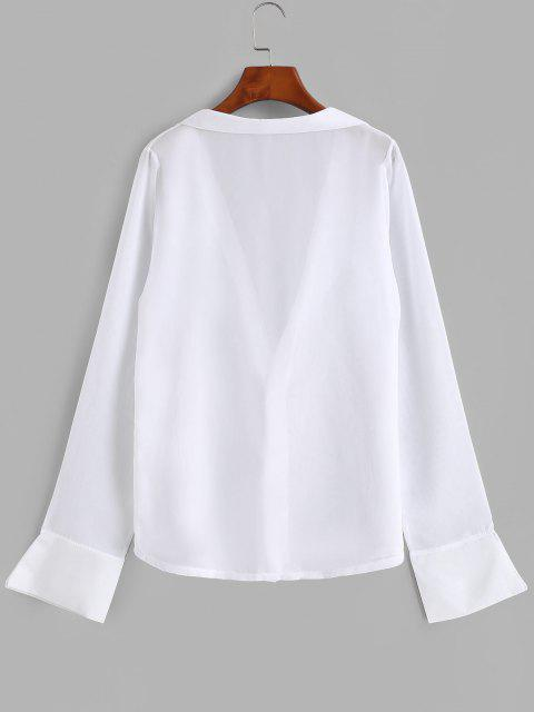 buy Button Up See Thru Chiffon Top - WHITE ONE SIZE Mobile