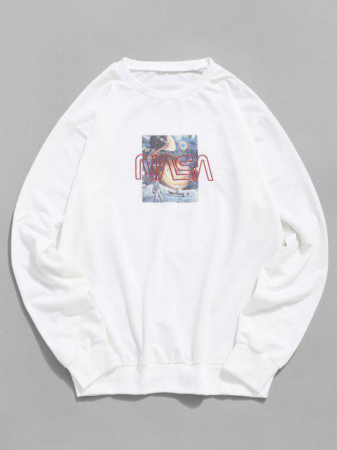 women's Universe Graphic Letter Embroidery Crew Neck Sweatshirt - WHITE 2XL Mobile