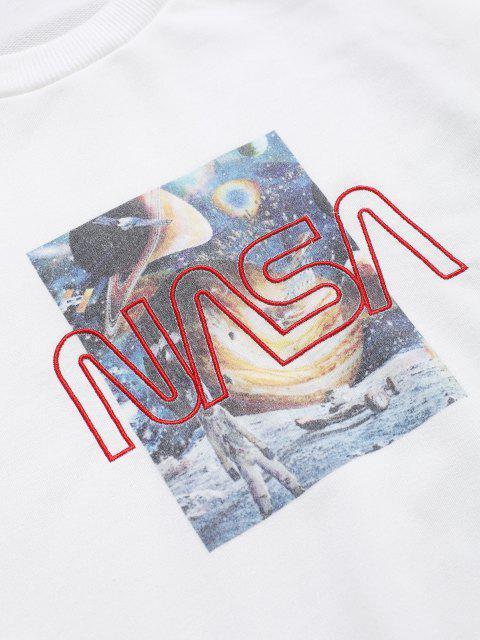 Universum Grafik Buchstaben Stickerei Rundhalsausschnitt Sweatshirt - Weiß 2XL Mobile