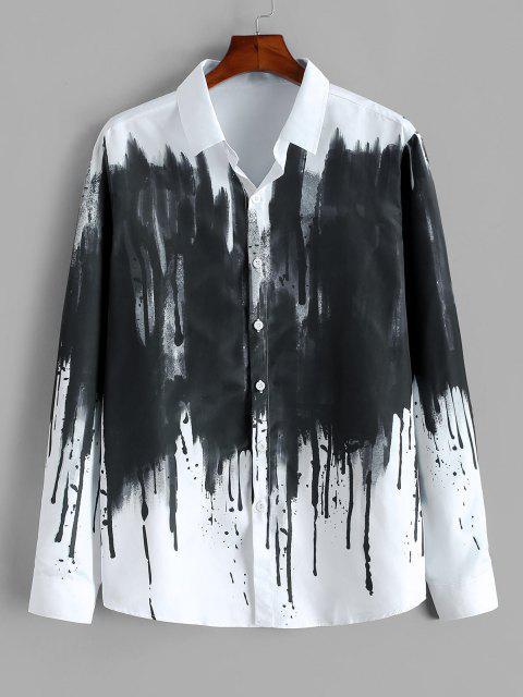 ZAFUL 中国のスプラッターインク印刷ボタン付きヴィンテージシャツ - 白 M Mobile