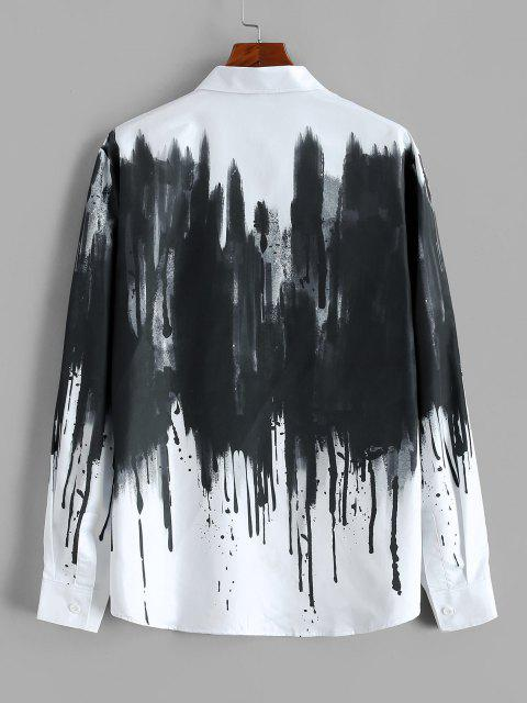 chic ZAFUL Chinese Splatter Ink Print Button Up Vintage Shirt - WHITE 2XL Mobile