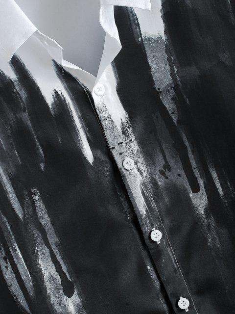 ZAFUL Camisa de Vendimia con Botones de Salpicadura de Tinta China - Blanco L Mobile