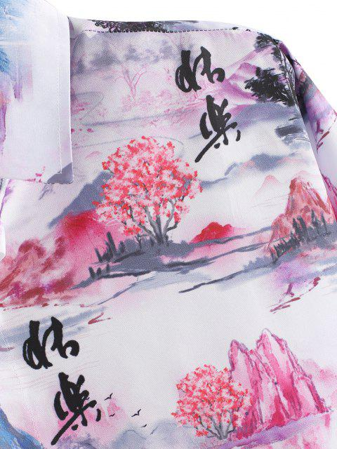 outfit ZAFUL Chinese Landscape Print Retro Long Sleeve Shirt - MULTI S Mobile