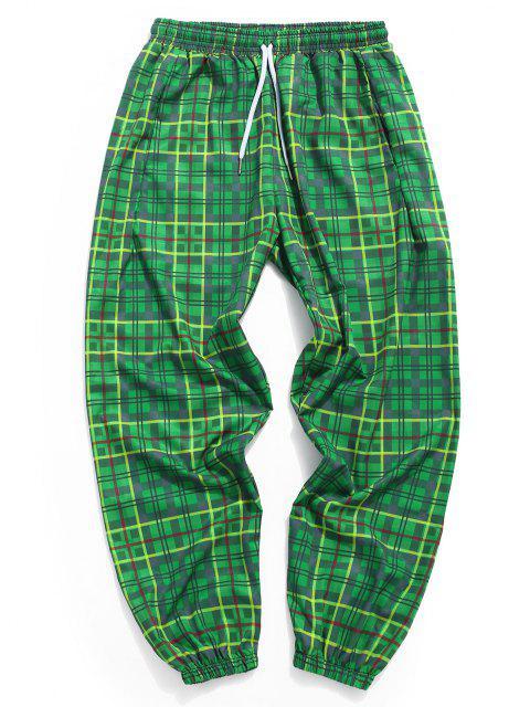Karierte Muster Elastische Manschette Hose - Kiefer Grün 3XL Mobile