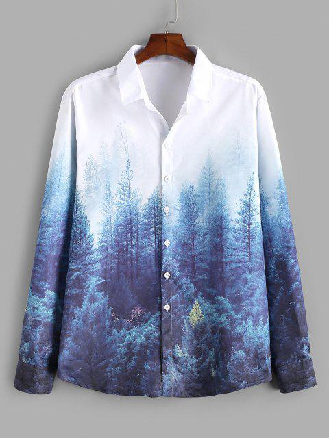 shops ZAFUL Forest Print Lounge Button Up Shirt - MULTI M Mobile
