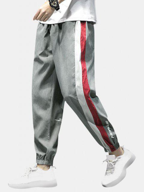latest Letter Print Colorblock Panel Pants - GRAY XS Mobile