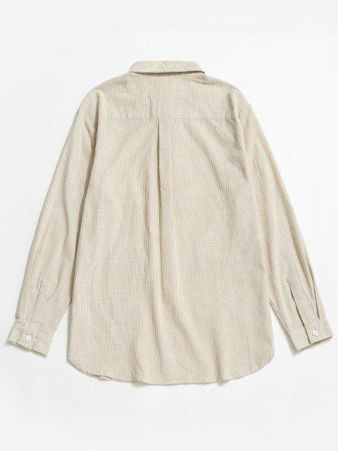 Camisa a Rayas de Bolsillo Doble Botón con Estampado - Blanco S Mobile