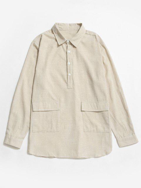 fashion Striped Print Half Button Double Pocket Shirt - WHITE XL Mobile