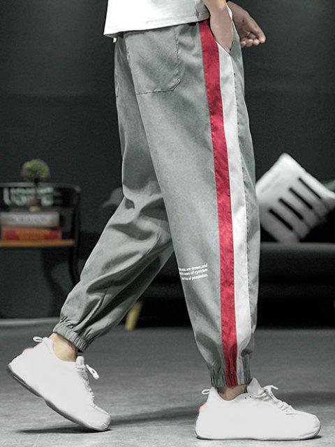 Pantalones con Estampado de Letras y de Bloqueo de Colores - Gris M Mobile