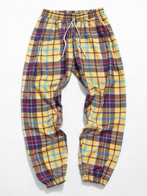 Pantalones Ajustados a Cuadros - Amarillo de Sol  3XL Mobile