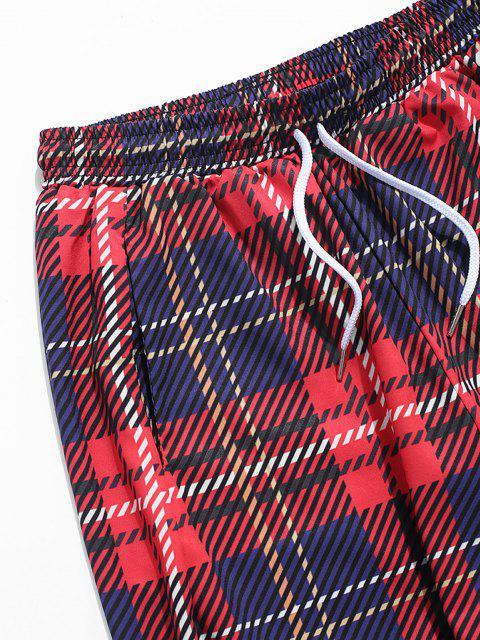 best Plaid Print Elastic Cuff Pants - RED 3XL Mobile