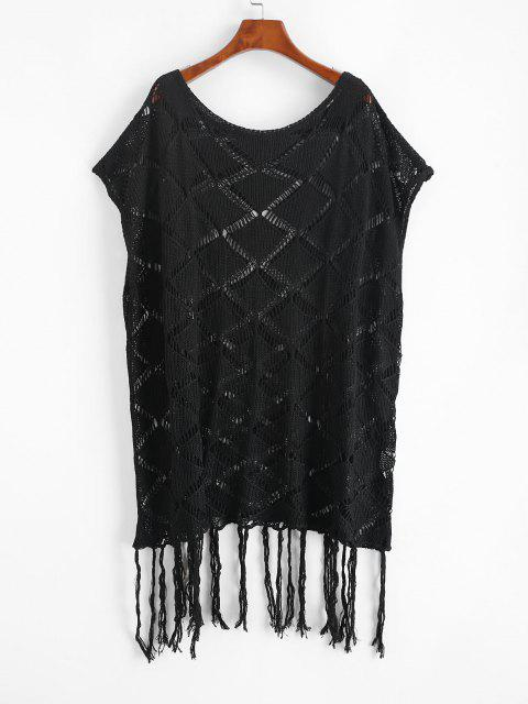 hot Open Knit Tassels Cape Cover Up Dress - BLACK ONE SIZE Mobile