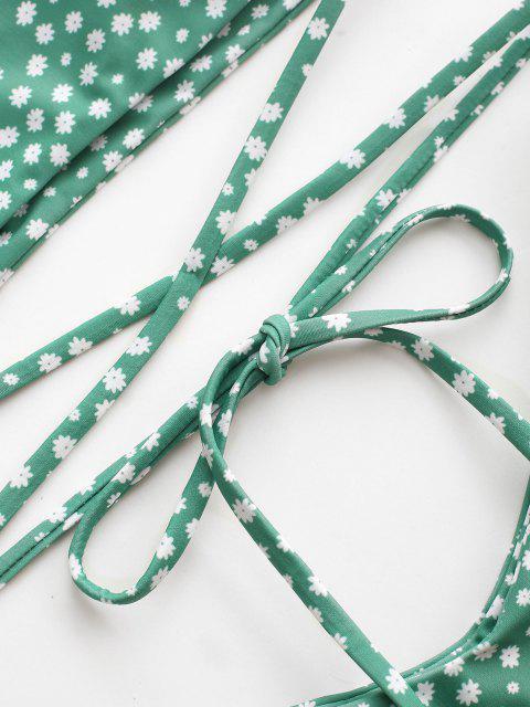 new ZAFUL Ditsy Print One Shoulder Wrap Around Bikini Swimwear - LIGHT GREEN M Mobile