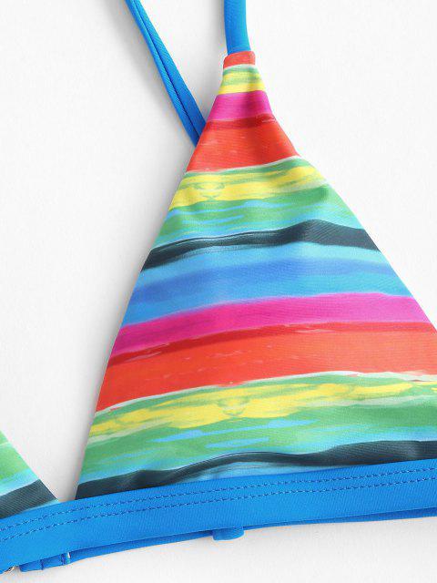 ZAFUL Regenbogen Gestreifte Tanga Bikini Badebekleidung - Blau S Mobile
