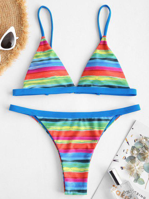 new ZAFUL Rainbow Striped Tanga String Bikini Swimwear - BLUE L Mobile