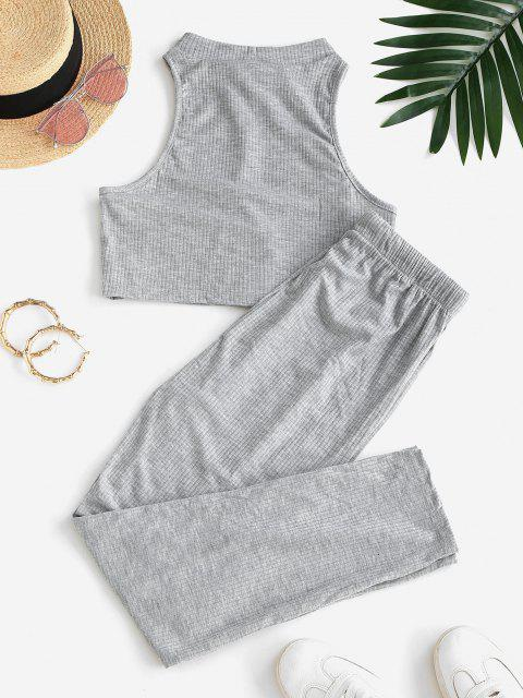 new Ribbed Knit Racerback Drawstring Two Piece Pants Set - DARK GRAY XL Mobile