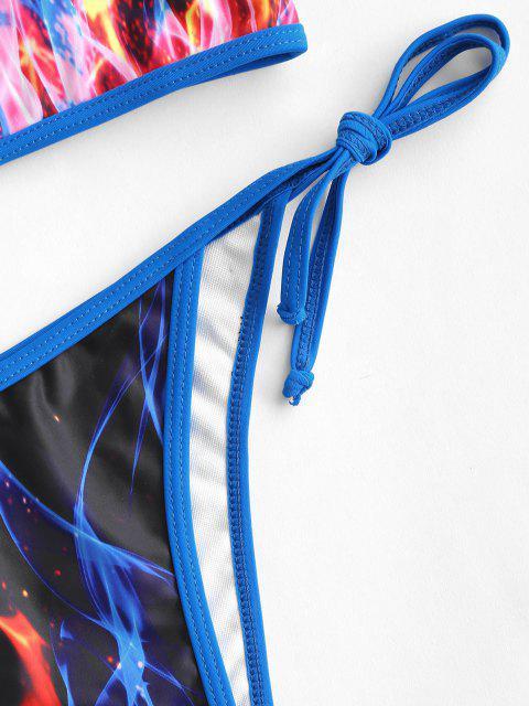 women ZAFUL Flame Print Piping Tie Tanga Bikini Swimwear - BLACK M Mobile