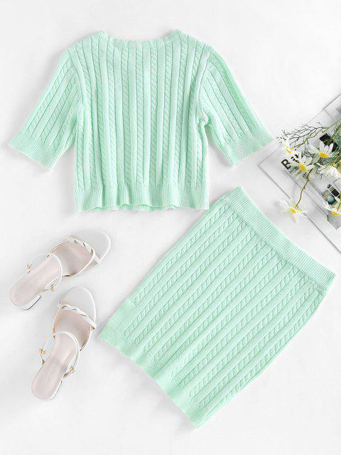 trendy ZAFUL Cable Knit Button Up Slit Bodycon Skirt Set - LIGHT GREEN S Mobile