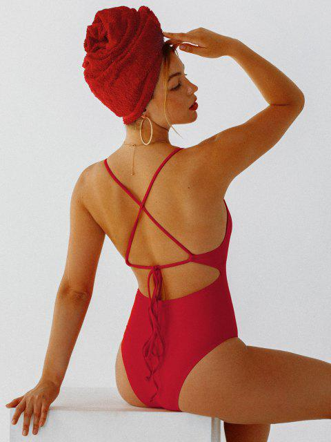 lady Self Tie Cross Back High Cut Swimsuit - RED S Mobile