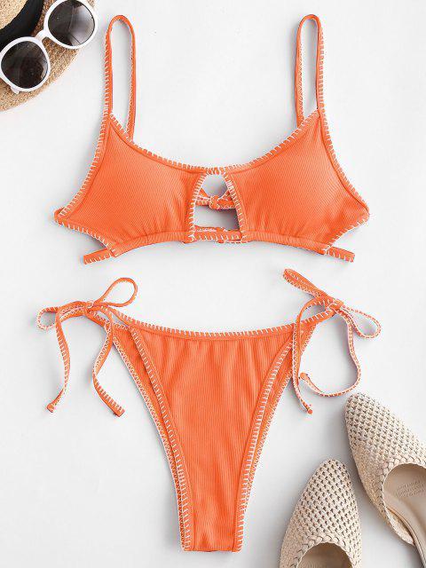 ladies ZAFUL Ribbed Keyhole Topstitching String Bikini Swimwear - DARK ORANGE S Mobile