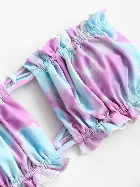 Costume da Bagno Bikini di Tie-Dye con Volant a Taglio Alto di ZAFUL - Viola chiaro M Mobile