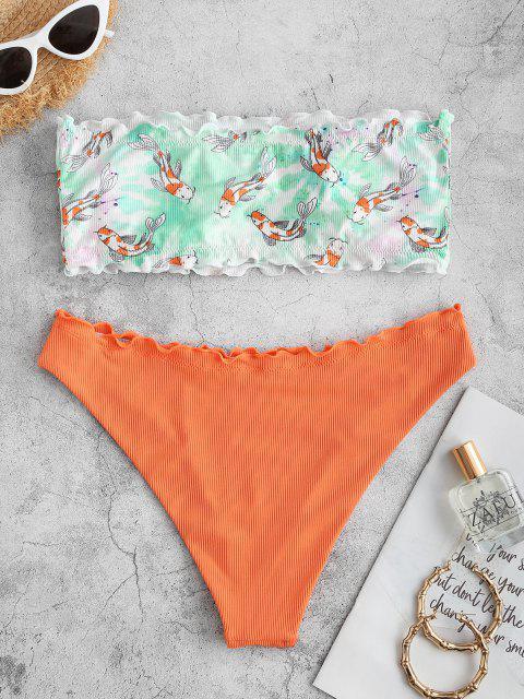 ZAFUL Costume da Bagno Bikini a Fascia con Stampa Pesce - Arancio S Mobile