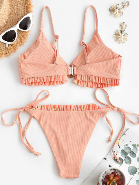 trendy ZAFUL Ribbed Frilled O Ring Tie Tanga Bikini Swimwear - LIGHT ORANGE L Mobile