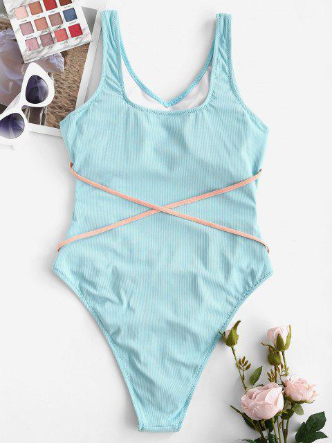 unique ZAFUL Cutout Ribbed Contrast Strap High Leg One-piece Swimsuit - LIGHT BLUE S Mobile