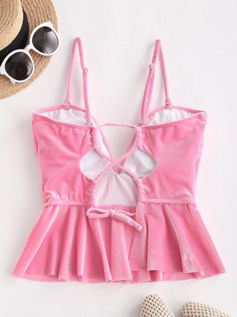outfits ZAFUL V Wired Velvet Ribbed Lace-up Peplum Tankini Top - LIGHT PINK L Mobile