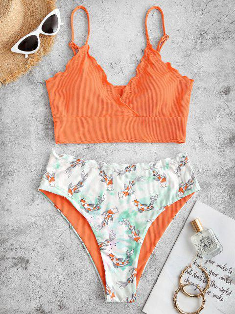 womens ZAFUL Fish Print Ribbed Lettuce Trim Tie Dye Tankini Swimwear - ORANGE XL Mobile