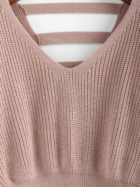 best ZAFUL Batwing Sleeve Ladder Cut Jumper Sweater - LIGHT PINK M Mobile