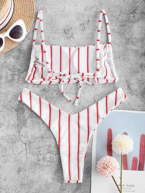 trendy ZAFUL Striped Ribbed Cheeky Bikini Swimwear - MULTI S Mobile