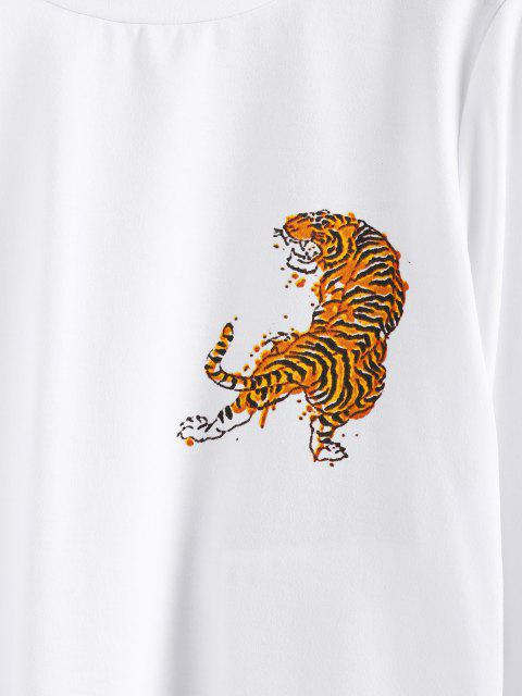 sale ZAFUL Tiger Print Pullover Sweatshirt - WHITE L Mobile