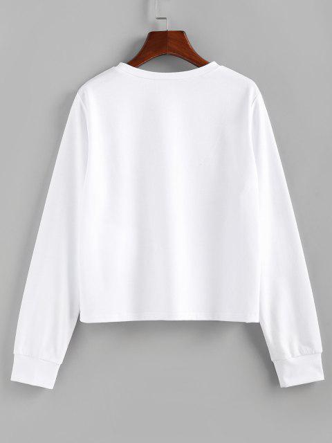 trendy ZAFUL Tiger Print Pullover Sweatshirt - WHITE S Mobile