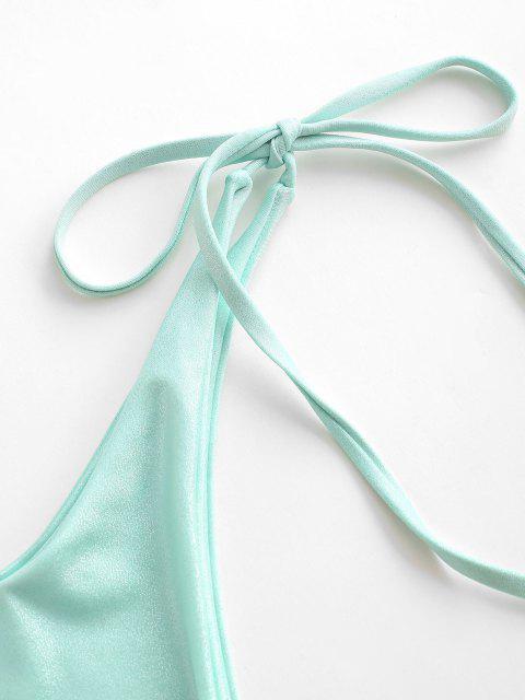 womens ZAFUL Sparkly Tie Side Tanga Bikini Bottom - GREEN M Mobile