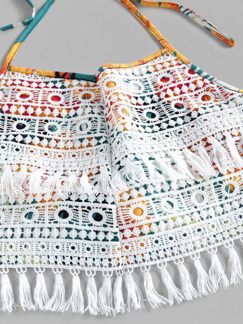 chic ZAFUL Halter Crochet Floral Print Two Piece Set - SANDY BROWN XL Mobile