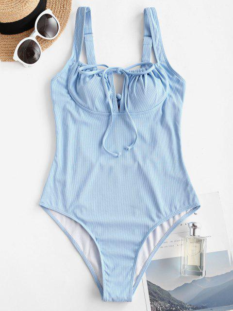 ZAFUL Ribbed Tie Bustier One-piece Swimsuit - أزرق فاتح S Mobile