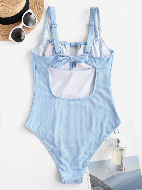 online ZAFUL Ribbed Tie Bustier One-piece Swimsuit - LIGHT BLUE M Mobile