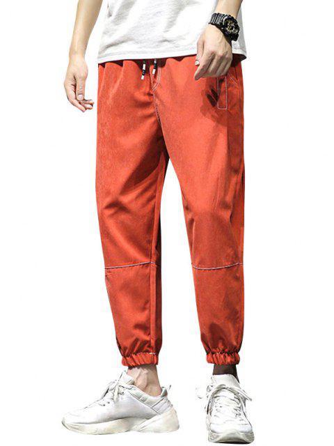 Pantalones Rayados Cintura Elástica Corte Alto - Naranja M Mobile