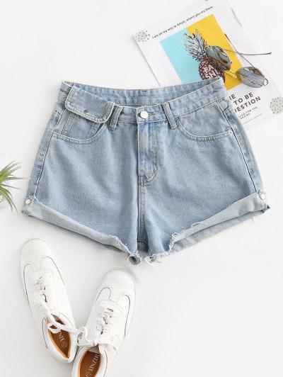 Cuff Off Cuffed Jean Shorts - Jeans Blue M
