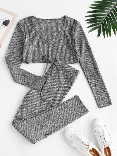 Ribbed Heathered Knit Two Piece Set - Gray L