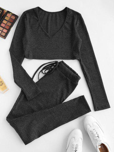 Ribbed Heathered Knit Two Piece Set - Black S