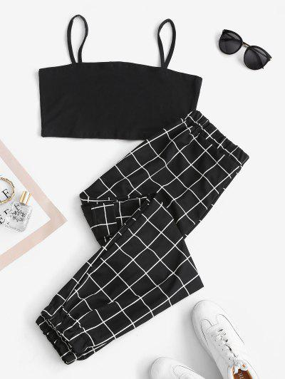 Cropped Slant Pockets Checked Two Piece Set - Black S