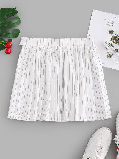 Stripes Mini Pleated Skirt - White M