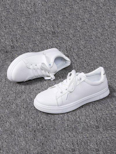Lace-up Flat Sports Shoes - White Eu 38