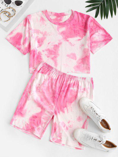 Cropped Tie Dye Two Piece Set - Light Pink M
