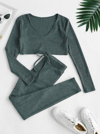 Ribbed Heathered Knit Two Piece Set - Green M